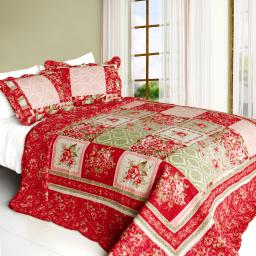 Chinese Wedding Cotton 3PC Vermicelli-Quilted Printed Quilt Set (Full/Queen)