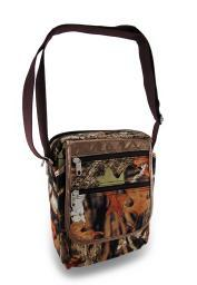Forest Camouflage Padded Gadget/Tablet Cross body Bag w/Metallic Trim