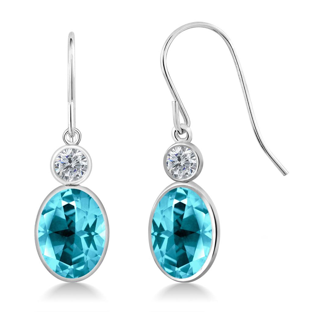 14K White Gold Diamond Earrings Set with Oval Paraiba Topaz from Swarovski