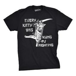 Mens Every Kitty Was Kung Fu Fighting Funny Kitten Cat Sword Music T shirt