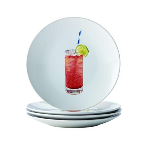 Rachael Ray 55278 Dinnerware Cocktails 4-Piece Stoneware Party Plate Set, Assorted