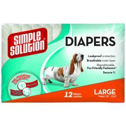 Simple Solution 10585 White Simple Solution Disposable Dog Diapers 12 Pack Large White