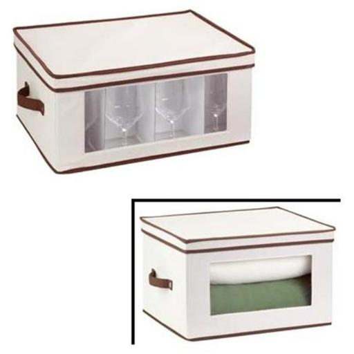 Honey-Can-Do SFT-02068 Natural Canvas Tall Window Storage Chest