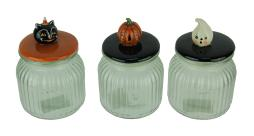 Set of 3 Pumpkin Peeps Vintage Look Halloween Glass Jars