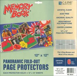 """Memory Book Panoramic Fold-Out Page Protectors 12""""X12"""" 6/Pkg"""