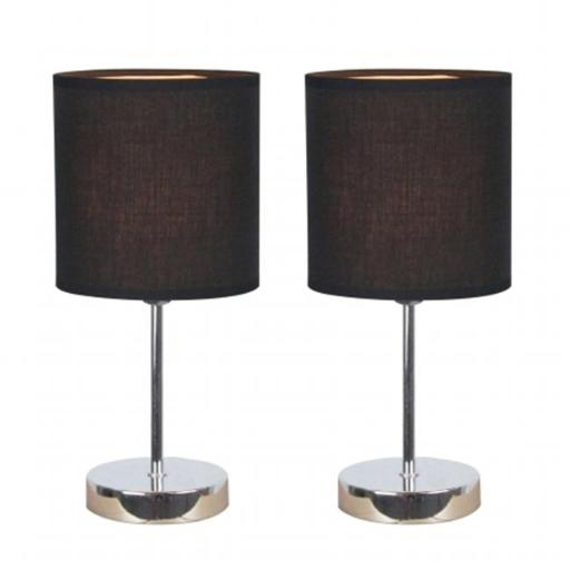 All The Rages LT2007-BLK-2PK Simple Designs Chrome Mini Basic Table Lamp with Fabric Shade 2 Pack Set, Black