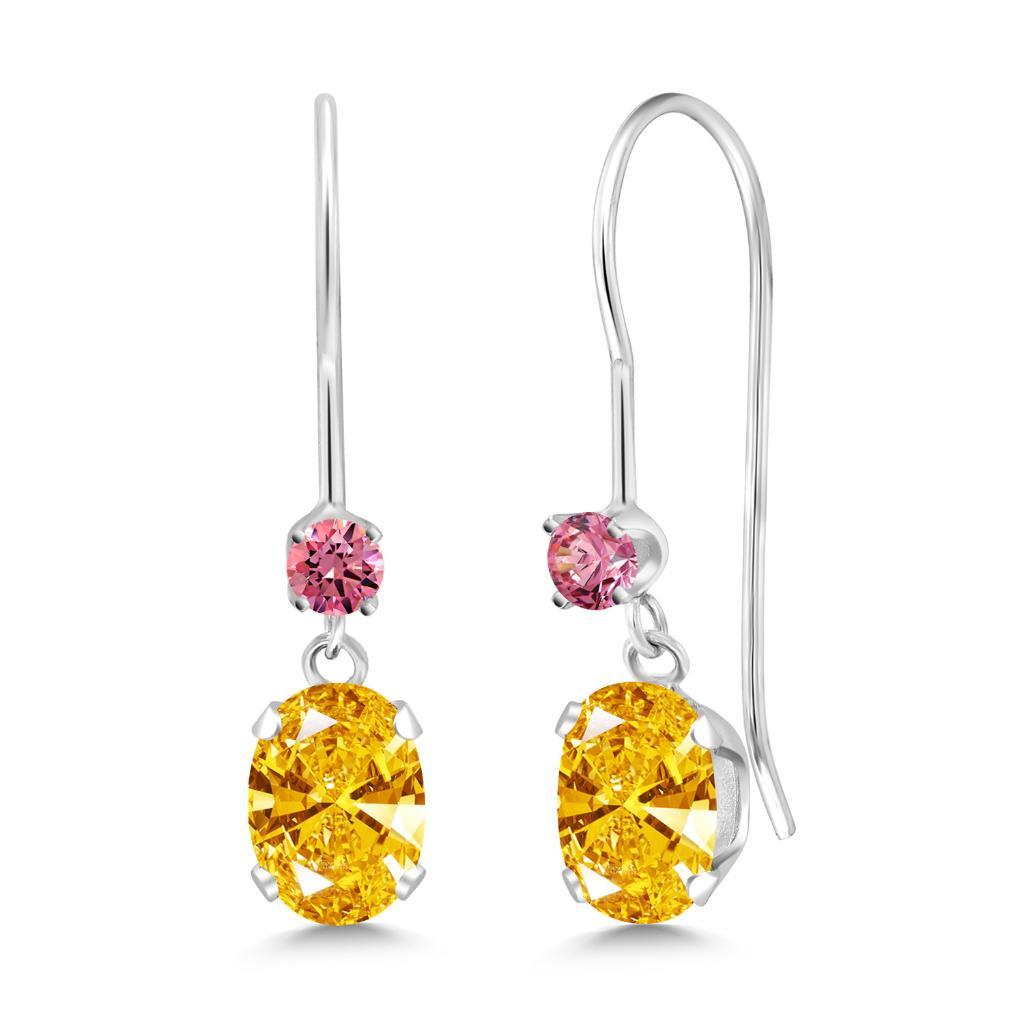14K White Gold Dangle Earrings Set with Golden Yellow Zirconia from Swarovski