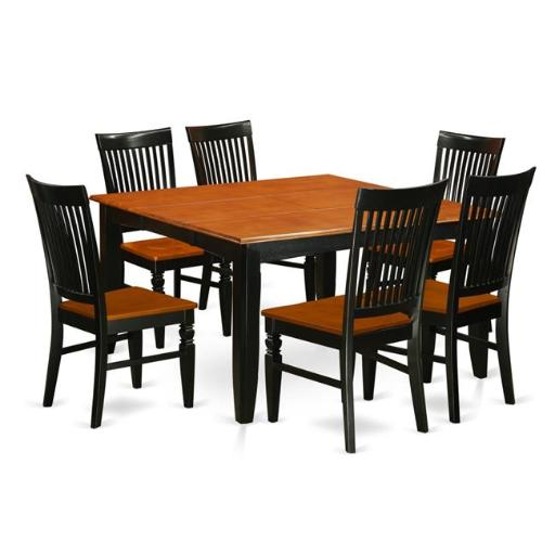 East West Furniture PFWE7-BCH-W Kitchen Table Set with a Dining Table & 6 Kitchen Chairs, 7 piece - Black & Cherry