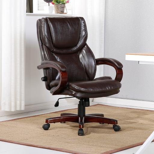 Belleze Leather Executive Office Chair w/ Adjustable Lumbar Support Height Swivel Wood Armrest Base, Brown