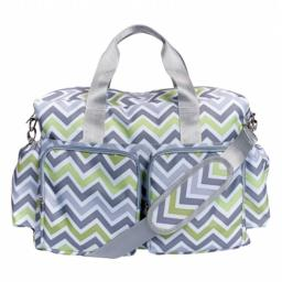 Trend Lab 2 101851 Chevron Deluxe Duffle Diaper Bag, Green, Gray, and White