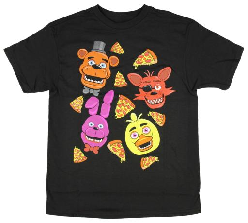 Five Nights At Freddy's Character And Pizza Big Boys T-shirt