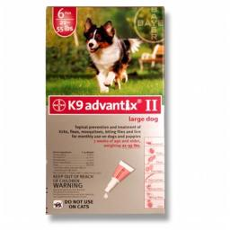 BAYER 004BAY-04461634 K9 Advantix II for Large Dogs 21 - 55 lbs  Red - 6 Months