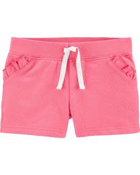 Carter's Girls' Neon Ruffle Pull-On French Terry Shorts, Pink, 9 Months