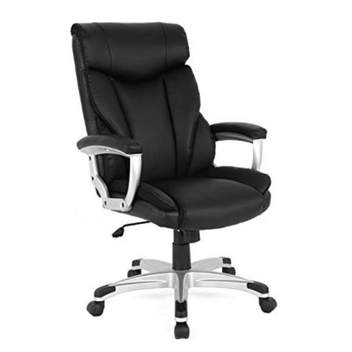 Inland Products 5161 High-Back Executive Leather Ergonomic Office Chair - Black