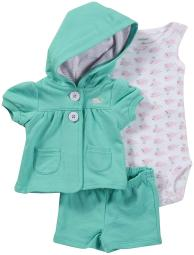 Carter's Baby Girls' 3 Piece Cardigan & Shorts Set - Whale - 9 Months