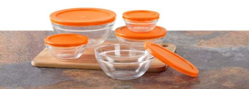 Imperial Home 10-Piece Glass Bowl Set With Orange Lids(Pack Of 12)
