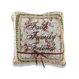 Charming Faith Family Friends Embroidered Square Decorative Throw Pillow 12in.
