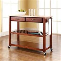 Crosley Furniture KF30051CH Natural Wood Top Kitchen Cart-Island