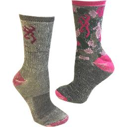Browning k000012660103 bg ladies 2 pack wool blend socks med grey/pink & pinkcamo