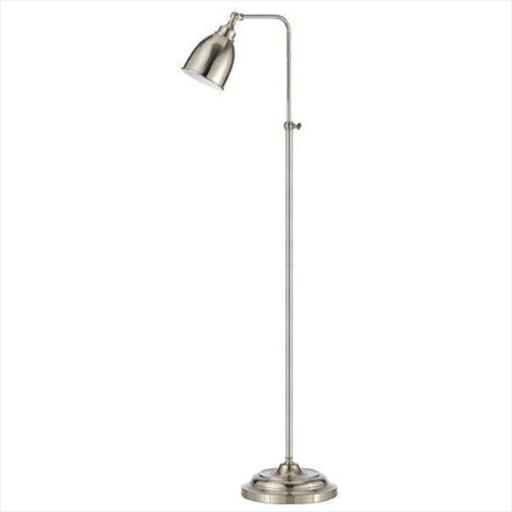 Cal Lighting BO-2032FL-BS 60 W Pharmacy Floor Lamp With Adjustable Pole, Brushed Steel Finish