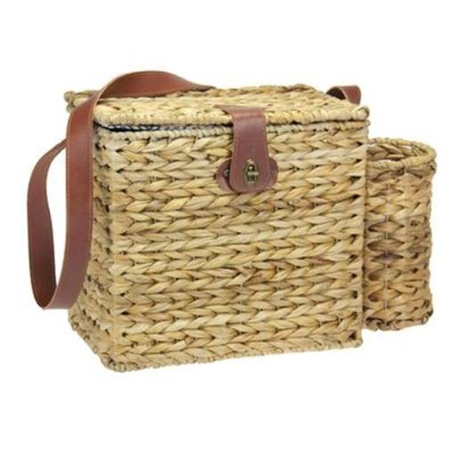 Household Essentials ML-6654 11.2 in. H Banana Leaf Picnic Basket-Lined with Service for Two 10DAF0F06B1CE85B