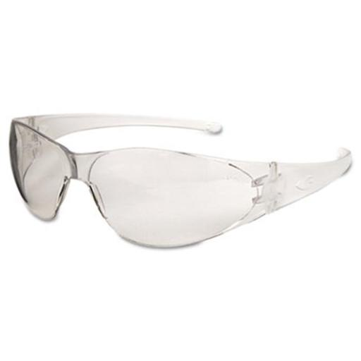 Crews Checkmate Safety Glasses, Clear Temple, Clear Lens, Anti Fog