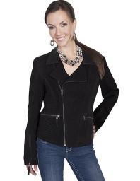 Scully Western Jacket Womens Leather Fitted Zipper Black L719 L719