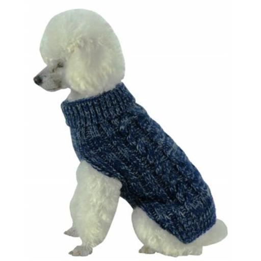 Pet Life SW17DBLSM Classic True Blue Heavy Cable Knitted Ribbed Fashion Dog Sweater, Small 7BBDFCD4DFAC1D6D