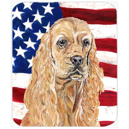 7.75 x 9.25 In. Cocker Spaniel Buff USA American Flag Mouse Pad, Hot Pad or Trivet