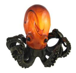 Colorful Swirled Glass Octopus Accent Lamp Bronzed Base