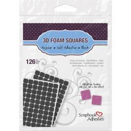 "Scrapbook Adhesives 3D Self-Adhesive Foam Squares 126/Pkg Black, .5""X.5"""