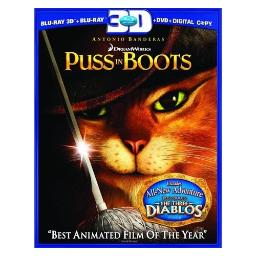 Puss in boots (blu-ray/3d/2d/dvd/dc/3 disc) (3-d) BR101112