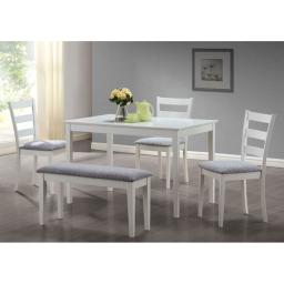 Offex OFX-284096-MO White 5 Piece Dining Set with a Bench and 3 Side Chairs