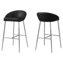 Offex OFX-504177-MO 2 Piece Kitchen Barstool, Black/Chrome Base - Bar Height