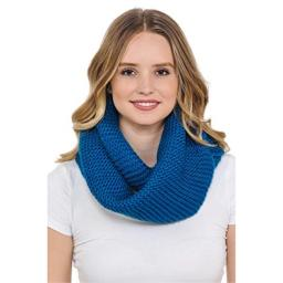 Basico Unisex Adult Junior Winter Knitted Infinity Circle Loop Scarf Chunky Cable Waffle- Various Colors (Basico Dark Teal)