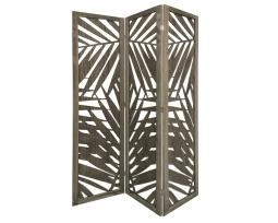 Screen Gems SG-363 Tropical Leaf Design 3 Panel Papete Screen Room Divider, Grey
