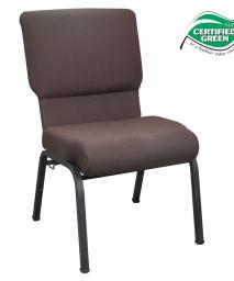 "Offex 20.5"" Wide Mahogany Molded Foam Church Chair with Textured Black Frame"