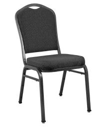 Offex Stackable Premium Patterned Black Crown Back Banquet Chair