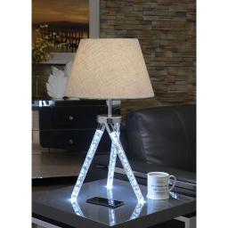 Contemporary Metal and Acrylic Table Lamp with Barrel Shade, Silver
