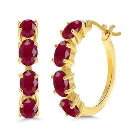 Red Crystal Oval Cut Multi-Lining Clip On Earrings in 14K Gold Plating