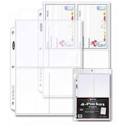 """BCW Pro 4-Pocket Photo Protective Page, Holds 3.5"""" x 5.25"""" Photos (100-Count)"""