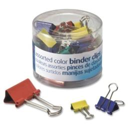 Officemate 31026 Binder Clips, Metal, Assorted Colors/Sizes, 30/Pack