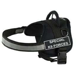 DT Works Harness, Special K9 Forces, Black/White, Small - Fits Girth Size: 25-Inch to 34-Inch