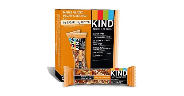 Kind Nuts &Amp; Spices, Maple Glazed Pecan &Amp; Sea Salt, 12-Count Bars These bars are where our journey started and it was simple: whole ingredients like nuts, mixed with fruits and spices bound together with honey.