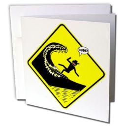3dRose Killer waves dude - Greeting Cards, 6 x 6 inches, set of 12 (gc_15845_2)