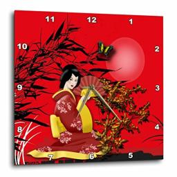 3dRose Japanese Geisha Girl in Red with and Gold Accents Wall Clock 15 x 15