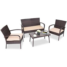 4 pcs Table Sofa Furniture Set with Cushions