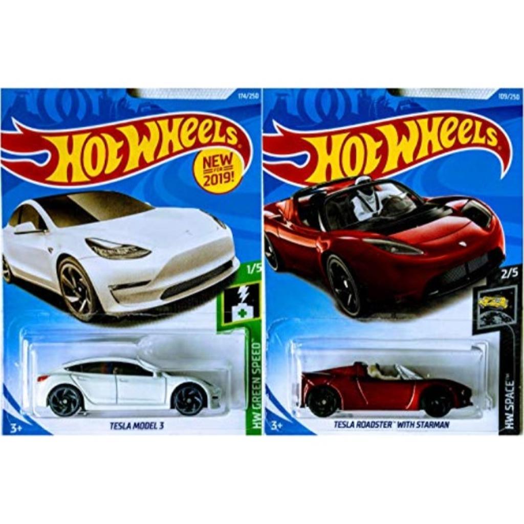 Hot Wheels Hot Wheels Tesla Model 3 White 174 250 And Tesla Roadster With Starman Metallic Red 109 250 2 Car Bundle Set Mattel Massgenie Com