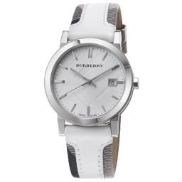 Burberry BU9019 Large Check Leather Strip On Fabric Watch