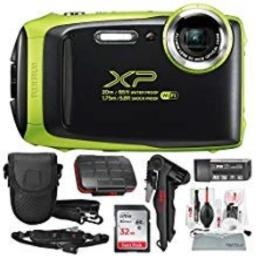 Fujifilm FinePix XP130 Waterproof & Shockproof Wi-Fi Digital Camera (Lime) with 32GB Card Stable Tripod Protective Camera Case Xpix Cleaning Kit wDeluxe Bundle (USA Warranty)